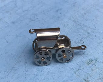 Covered Wagon Sterling Silver Pendant Charm, 3g