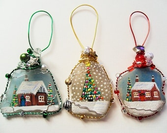 cottages and christmas trees sea glass christmas tree decorations set of 3 hand painted english beach glass - Glass Christmas Decorations