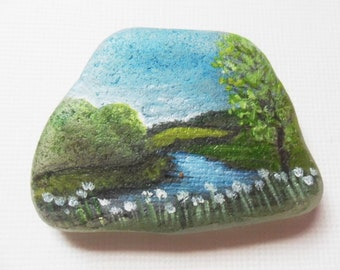 Summer in the Yorkshire dales England - Original acrylic miniature painting on frosted sea glass