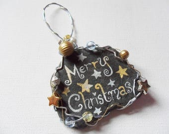 Hand painted Merry christmas beach sea slate wire and beads tree decoration