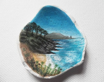 Roseland Cornwall - Acrylic miniature painting on beach pottery