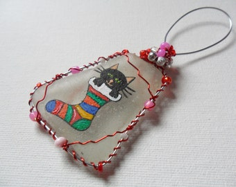 Cat in a christmas stocking large hanging tree decoration- Hand painted to order and beaded english sea glass