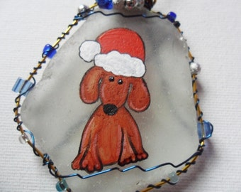 Santa hat puppy large hanging tree decoration- Hand painted to order and beaded english sea glass
