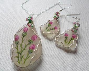 Scottish thistle - Hand painted sea glass necklace and earring set - wire wrapping and miyuki seed bead detail