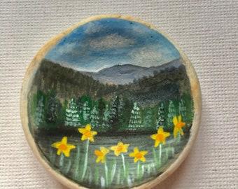 Daffodil lake  - Acrylic miniature painting on Scottish sea pottery
