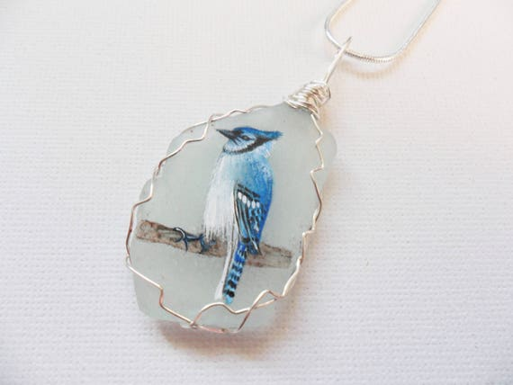 painted to order wire wrapping. White swan bird hand painted sea glass necklace