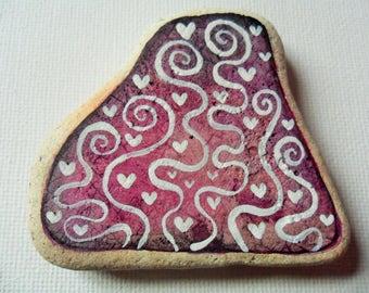 White and purple hearts and swirls - Acrylic miniature painting on English sea pottery