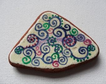 blue green purple dotty swirls and curls art pattern - Acrylic miniature painting on English sea pottery