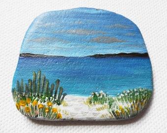 Green Porth Cornwall - Acrylic miniature painting on beach slate