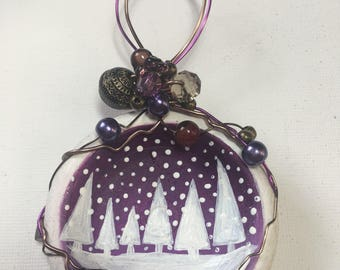 White snow trees on purple hand painted Christmas tree decoration - sea pottery wire wrapped
