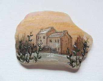 Midhope castle Scotland Acrylic miniature painting on English sea glass