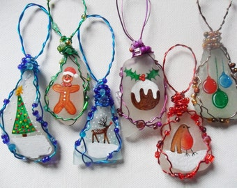 Sea glass hand painted art christmas tree decorations - wire wrapped with beading