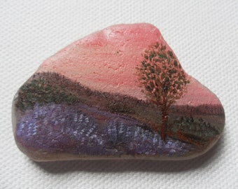 Summer sunset heather - Acrylic miniature painting on English sea glass