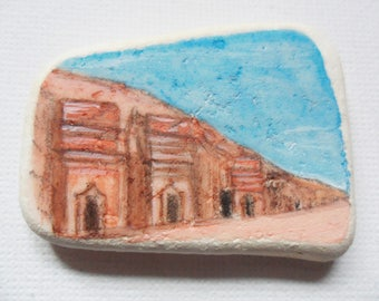 Madain Saleh ruins - Acrylic miniature painting on English sea pottery