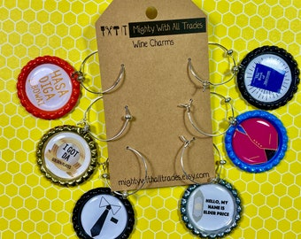 Book Of Mormon Wine Charms, Set of 6, flat bottle caps, musical theatre, broadway gifts, south park,