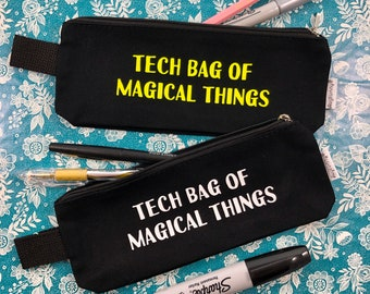 Tech Bag of Magical Things, pencil bag, pouch, fluorescent, glow in the dark, stage manager, technician, backstage, theatre bag, pencil case