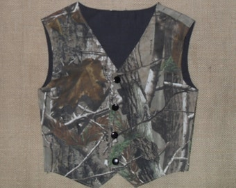 Boys and Men Camo vest RealtreeAp Max 4 satin shown in photo #7 in fabric selection Also 23 camo colors to select from