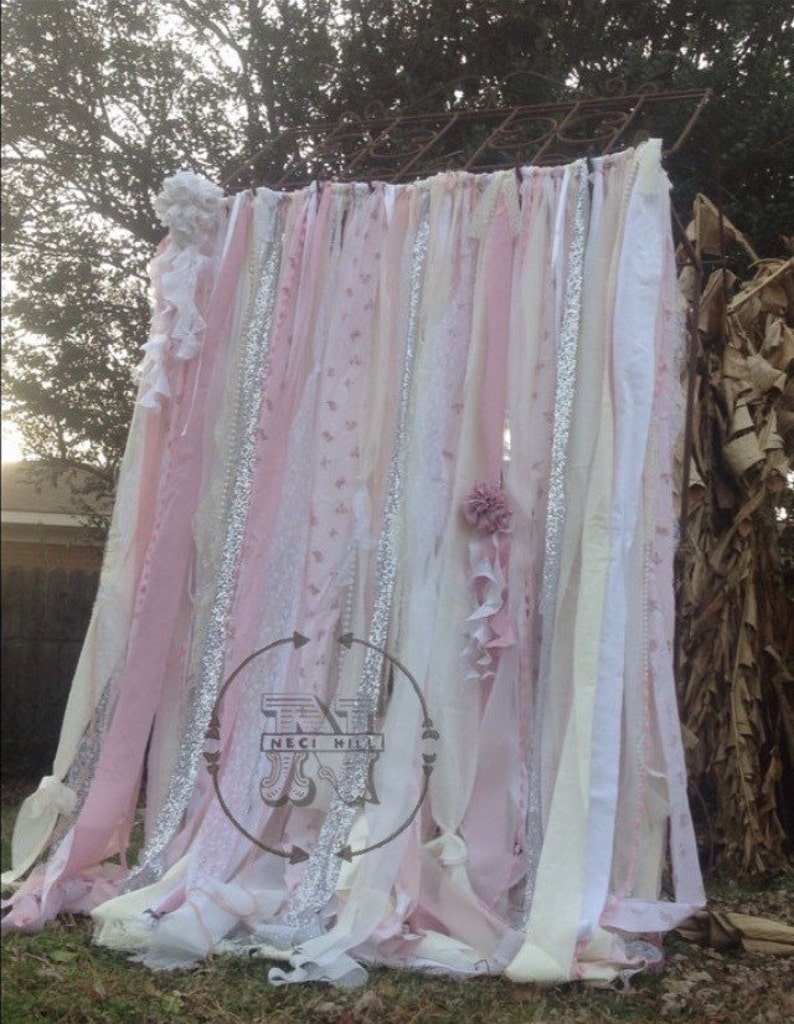 Shabby Chic Curtains Vintage Rachel Ashwell Fabric Ribbon and image 1