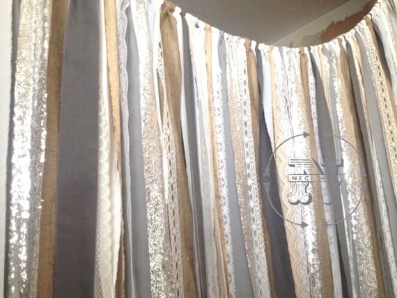 Gray Curtain Burlap Silver Sequin Garland Urban Chic Boho