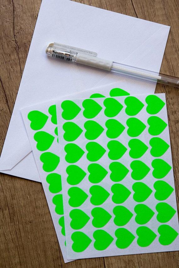0 75 green neon sticker heart sticker paper sticker etsy