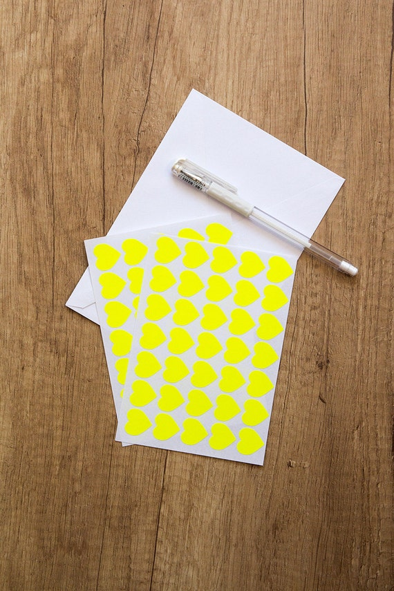 0 75 yellow neon sticker heart sticker paper sticker etsy