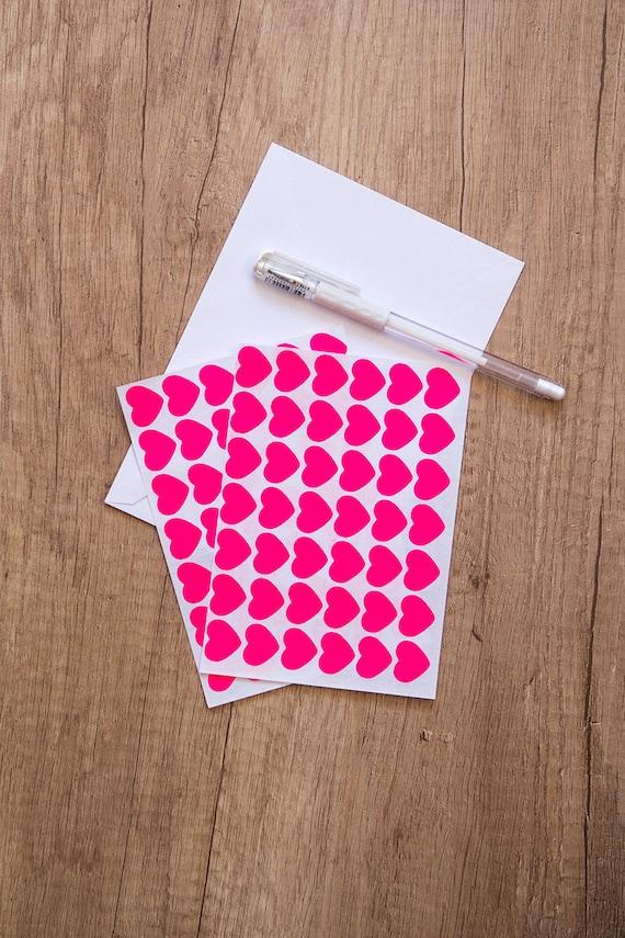 0 75 pink neon sticker heart sticker paper sticker etsy