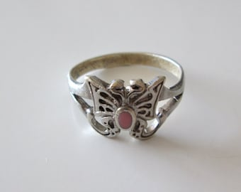 Sterling silver Vintage Pink Gemstone Butterfly ring, size 7.5