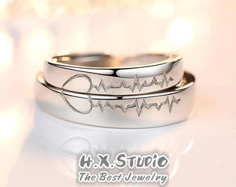 a0e47f723b His and Hers Heart Beat Matching Rings, Men & Women Heart Silver Couple  Rings, Promise Rings, Valentine, Wedding, Anniversary, Fiancé, Gift