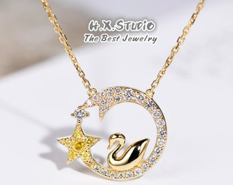 8a9d470bd8d1f1 18k Gold Diamond Swan Stars and Moon Necklace
