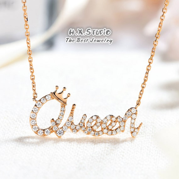 Perfect Christmas Accessory Solid White Gold Personalized Name Necklace Personalized Diamond Letter Necklace Diamond Custom Jewelry