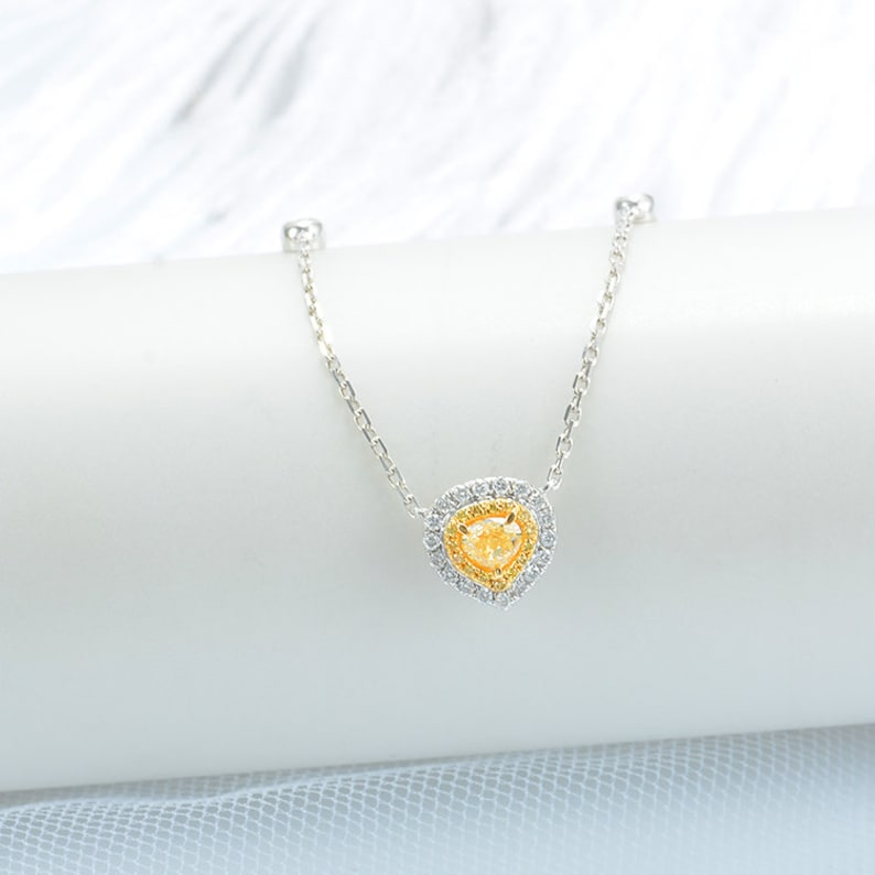 296e1ad926354 SALE Solid 18k Gold Heart Shape Yellow Diamond