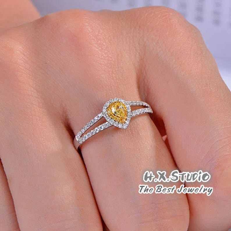 1d0507eb834e3 Solid 18K Gold Diamond Engagement Ring, Fancy Yellow Diamond Engagement  Ring, Promise Ring, Natural Diamond Wedding Ring, Valentine'Day