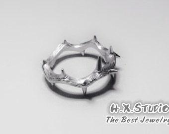 Handemade Silver 'Crown of Thorns' Ring, Teenage, Valentine, Christmas, Anniversary, Birthday, Gift