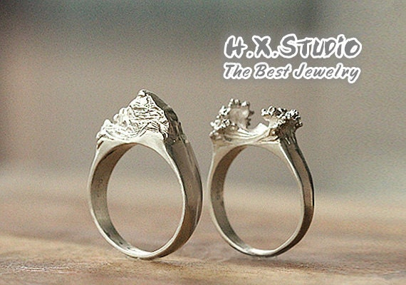 Items similar to Handmade Unique Mountain and Sea Couple Rings, Silver Couple's Ring Set ...