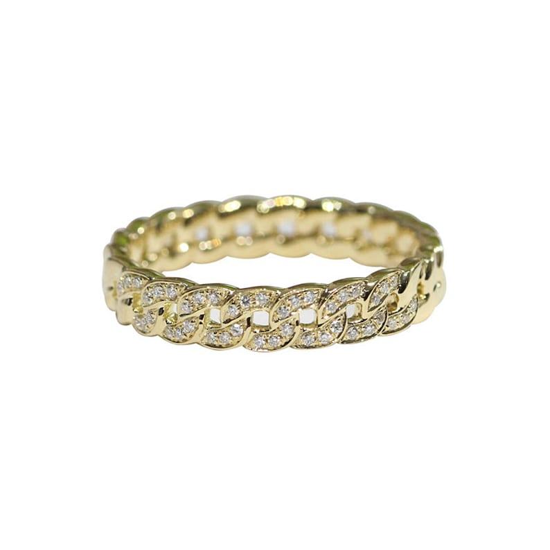 Diamant-Link-Kette-Ehering in solid 18 k Gold/Infinity