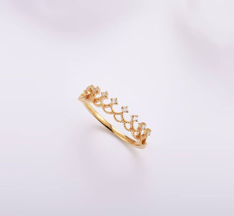 Tiara Diamonds Band in 18K White Gold Engagement Anniversary Gift Yellow Gold Valentine Rose Gold; Gold /& Diamond Crown Wedding Band