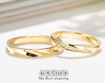 Solid 18K Gold with Diamond Wedding Ring Set, Matching Wedding Bands, 18K Gold Ring Set, His & Hers Wedding Rings, Wedding Couple Ring Set