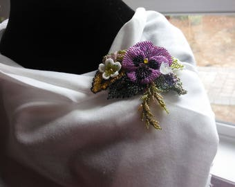 Purple Pansy Pin or Pendant