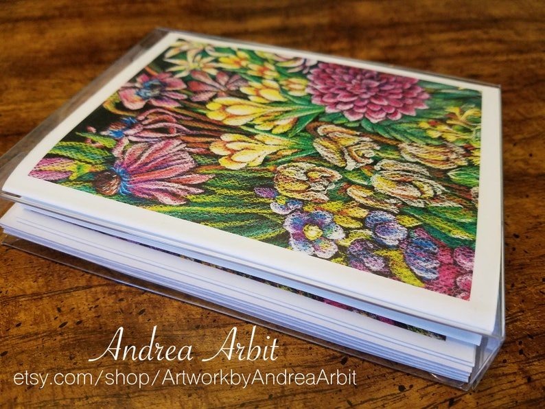 Flower Drawing Prints Pack of 4 Blank A2 Notecards Ability Bouquet Set