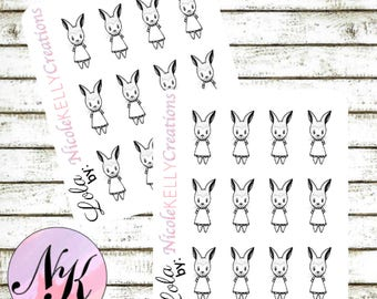 Exclusive custom character Stickers, 12 Stickers, Lola sticker, Bunny Stickers, use with Erin Condren Planner(TM), Happy Planner,Planner