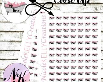 64 Bath Stickers, Me Time, Stickers, Spa Day Sticker, Bath Tub, use with Erin Condren Planner(TM), Happy Planner, planner, Traveler Notebook