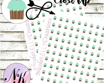 84 Cupcake Stickers, Planner Stickers, Birthday sticker, Cupcake stickers, use with Erin Condren Planner(TM), Happy Planner, planner,