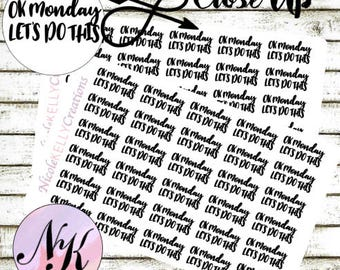 30 Monday Stickers, Planner Stickers, let do this, motivation stickers, use with Erin Condren Planner(TM), Happy Planner, planner, Stickers