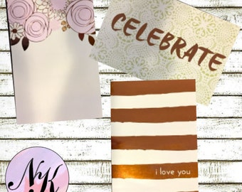 3 floral dashboards, Copper Foil dashboards, Mini Dashboards, Planner dashboard, planner, Travel notebook, inspiration cards, Framable Cards
