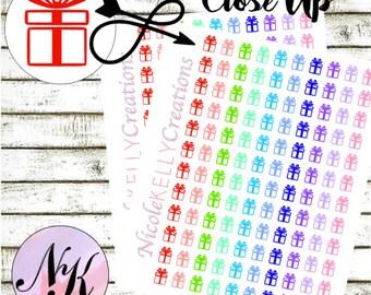 60 Present Stickers, Party Stickers, Birthday sticker, use with Erin Condren Planner(TM), Happy Planner, planner, Sticker, Traveler Notebook