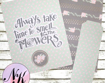 Planner Cover Floral Quote, Planner Cover, inspiration print, Framable art, use with Erin Condren Planner(TM), Happy Planner, Traveler NB
