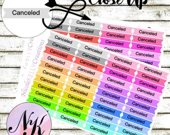 44 Canceled Stickers, Canceled, functional, use with Erin Condren Planner(TM), Happy Planner, planner, Sticker, Traveler Notebook