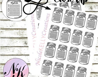 9 Hydrate Stickers, Planner Stickers, Hydrate sticker, Mason Jar stickers,use with Erin Condren Planner(TM), Happy Planner, planner, Sticker