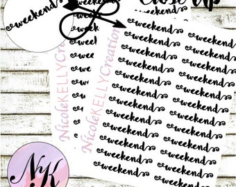 12 Weekend Stickers, Stickers, Banner sticker, use with Erin Condren Planner(TM), Happy Planner, planner, Traveler Notebook