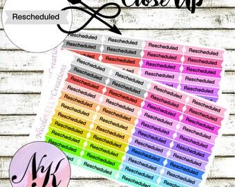 44 Rescheduled Stickers, rescheduled, functional, use with Erin Condren Planner(TM), Happy Planner, planner, Sticker, Traveler Notebook